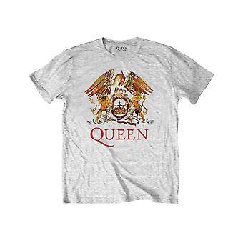 Queen Kids T Shirt Classic Crest Band Logo Officiel Heather Grey Ages 3-14 ans