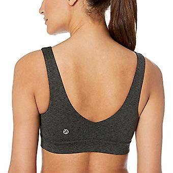 Marke - Core 10 Frauen's Standard Licht Unterstützung Spektrum Yoga Scoop zurück Sport BH, dunkelgrau Heather, klein