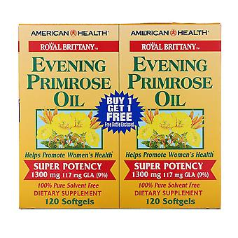 American Health, Royal Brittany, Evening Primrose Oil, 1300 mg, 2 Bottles, 120 S