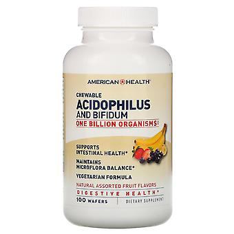 American Health, Chewable Acidophilus And Bifidum, Natural Assorted Fruit Flavor