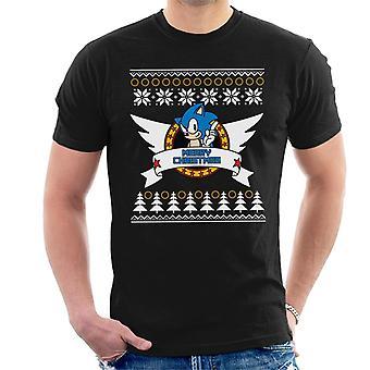 Sonic The Hedgehog Hyvää joulua Fair Isle Miehet&s T-paita