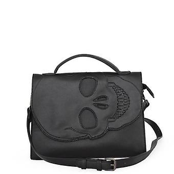 Banned - tenebris - skull embossed black gothic shoulder bag