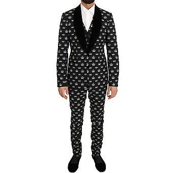 Dolce & Gabbana musta kruunu villa stretch slim fit puku KOS1052-3