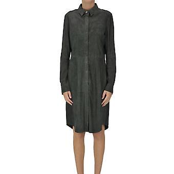 Arma Ezgl570001 Women's Grey Suede Dress