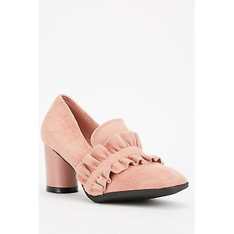 Pink Frilly Suedette Block Heels