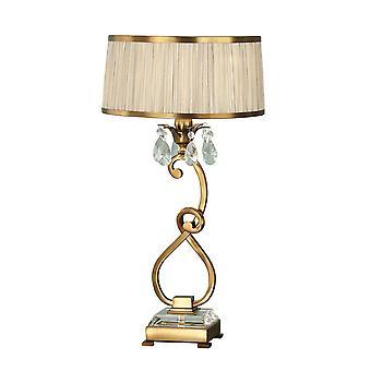 1 Lampe de table moyenne légère laiton antique avec nuance beige, E14