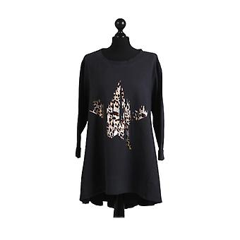 Womens Foil Leopard Star Print Dipped Hem Top | Charcoal | One Size (UK12-18)