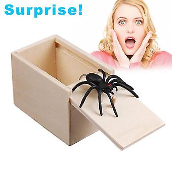 "April Fool""s Day Wooden Prank Spider Mouse, Practical Joke Scare Toy Box"
