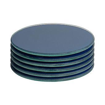 6 piezas vidrio bebida coasters set - estilo moderno Tablemat redondo - Azul de La Haya - 10cm