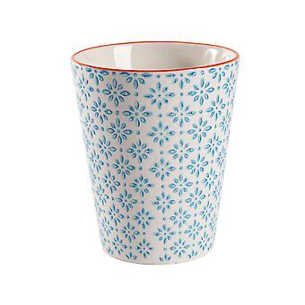 Nicola Spring Käsin painettu posliinimuki - Japanilainen tyyli painatus - 300ml - Sininen
