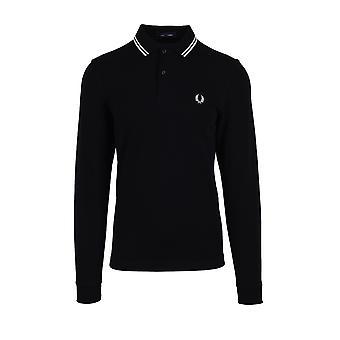 Fred Perry Long Sleeved Polo Shirt Black/porcelain/porcelain