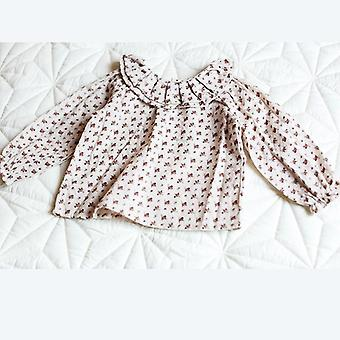 Spring/autumn, Cozy Cotton, Long Sleeve With Pleated Collar Shirt For Baby