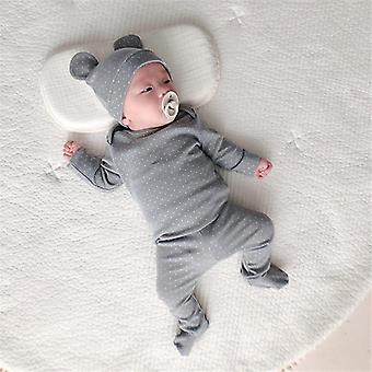 Baby Baumwolle Schlafanzug Dot Schlaf Set mit kostenlosen Hut Baby Sleeper