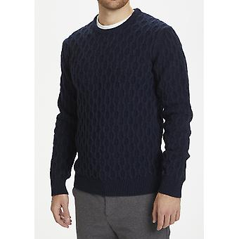 Triton Dark Navy Cable Knit Jumper