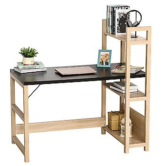 HOMCOM Rectangle Desk with 3-Tier Book Shelf Wide Display Table for Home Study, Office, Black Wood Grain