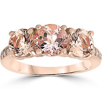 3 1/4 ct Morganite & Diamond 3-Stone Ring 14k Rose Gold