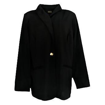 IMAN Global Chic Women's Plus Resort Blazer W/ Printed Cuffs Black 690-209