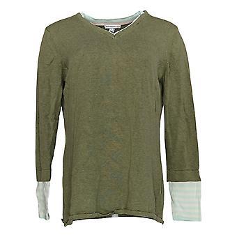 Isaac Mizrahi Live! Frauen's Pullover geschichteten Streifen Ärmel grün A374938