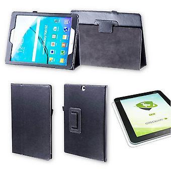 Für Samsung Galaxy Tab S6 Lite P610 P615 Hülle Cover Tasche Schwarz Kunst Leder Case Neu + 0,3 mm Hart Glas
