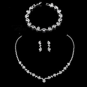 Crystal Bridal Jewelry Sets- Geometric Choker Necklace Earrings Bracelet