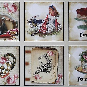 Luck and Luck Alice in Wonderland Sticker Sheet x 35 Wedding Party 'Drink Me Eat Me'