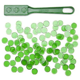 Green Magnetic Bingo Wand with 100 Metallic Bingo Chips