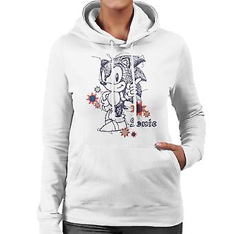 Sonic der Igel ZeigeFinger Skizze Frauen's Kapuzen Sweatshirt