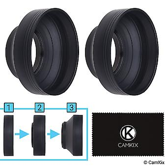 Camera lens hood 58mm - rubber - set of 2 - collapsible in 3 steps - sun shade/shield - reduces lens