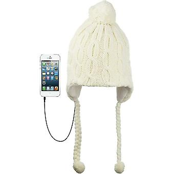 KitSound Audio Knit Bobble Cable Knit Beanie with Built-In Headphones - Crème