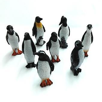 Modello plastico pinguino animale figura giocattolo set di 8 pezzi