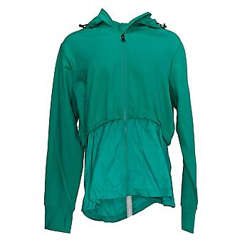Athletic Works Women's Knit Woven Zip Front Jacket Hooded Green