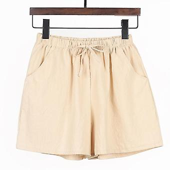 Summer Casual Solid Cotton Linen Shorts High Waist Loose Shorts
