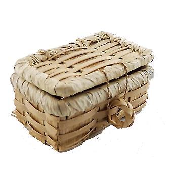 Casa de muñecas Picnic cesta de mimbre de mimbre con tapa accesorio en miniatura lt