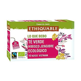Green tea with Hibiscus and Bio Ginger 20 infusion bags of 36g