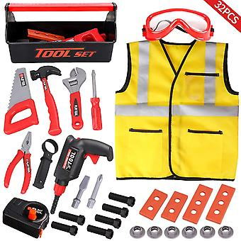 Loyo kids tool set - 32pcs construction tool toys with play electric drill and carry case tool box p