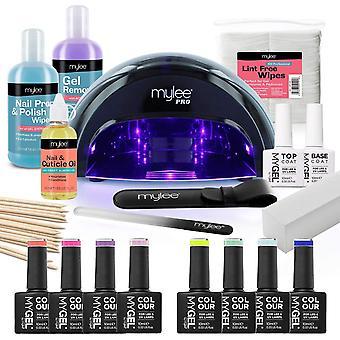 Mylee The Full Works Gel Nail Polish LED Lamp Kit, 8x MYGEL Colours, Top & Base Coat