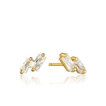 Ania Haie Sterling Prata Brilhante Ouro Brilhante Brincos Glow Stud E018-07G