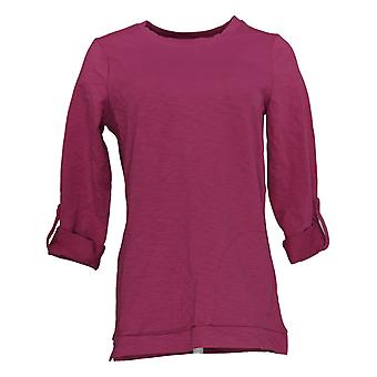 Denim & Co. Kvinder's Petite Sweatshirt fransk Terry Tunic Pink A383249