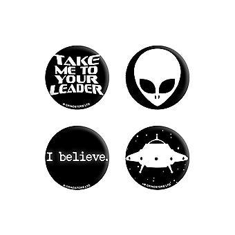 Grindstore I Believe In Aliens Badge Set (4 kpl pakkaus)