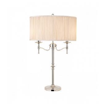 Stanford Lampe, Nickel, Beige Shade