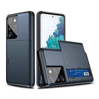 VRSDES Samsung Galaxy S21 Ultra - Lompakkokorttipaikan kansikotelo Business Blue