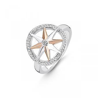 Ti Sento Flimrende lys 12155ZR - Sølvring og lyserød guldring og kvinders zirconiumoxider