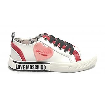 Women's Shoes Love Moschino Sneaker In White Leather/ Red D21mo13