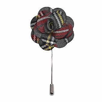 Handmade Light Grey Tartan Flower Lapel Pin