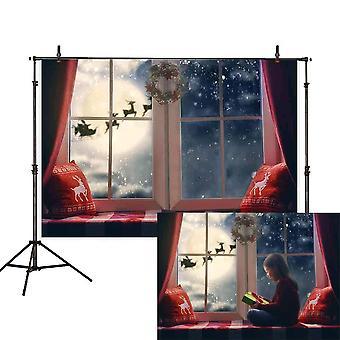 Allenjoy 7x5ft christmas backdrop winter snowflake pillow window sill moon reindeer santa garland wr