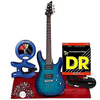 Schecter c-6 plus elgitarr med solid kropp, havsblå sprängning med tuner och tillbehörsbunt