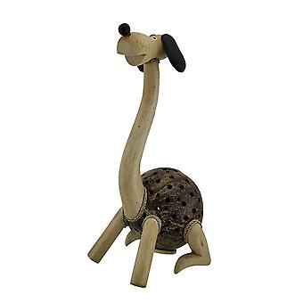 Long Neck Puppy Dog Wood and Coconut Shell Coin Bank