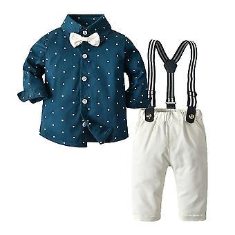 幼児のベビー紳士の服セット、長袖ロンパースとサスペンダーパンツ