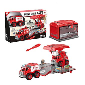 Children's disassembly and assembly of fire police car toys