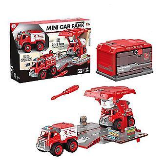 Démontage et assemblage d'enfants et d'assemblage de jouets de voiture de police d'incendie